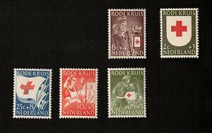 Netherlands 1953 Lot of 5 Semi-Postal Stamps, MNH VF OG, Sc# B254-B258