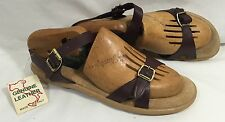 Vintage Leather Slingback Sandal Maroon Suede Padded Foot-bed Rubber Sole Italy
