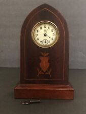Vintage Jennings Brothers Wood Mantle Clock With Key and Good Working Condition