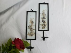 Lot of 2 Vtg Iron Metal Purple Dried Flower Candle Holder Wall Sconce B-246