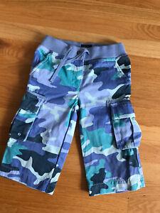 MINI BODEN Boys Blue Gray Camouflage Techno Cargo Shorts Elastic Waist 4 5 New