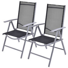 2 x Patio Folding Chairs Adjustable Reclining Garden Furniture Indoor Outdoor