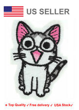 Happy cat Iron On / Sew On Patches Embroidery feline cat lover motif applique