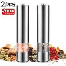 1/2x Set Electric Salt and Pepper Grinder Set Shaker Mills Adjustable Coarseness
