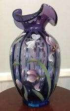 "Fenton Mulberry Hand Painted ""Iris Garden"" Connoisseur Collection Signed Vase"