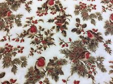 Fabric Freedom - Seasons Greetings - Robins - Cream - 100% Cotton Fabric