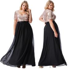 Goddiva Black/Gold Short Sleeve Chiffon Sequin Maxi Evening Dress Formal Ball