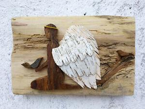 Angel wood art Barnwood wall art Reclaimed wood wall art Birch Bark rustic art