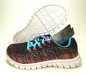 NEW Danskin Now Womens Size 4 Running/Walking Shoes Black/Pink/Blue Sneakers