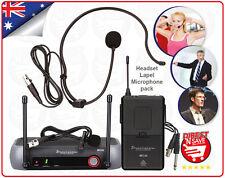 Wireless Headset Mic Lapel Cordless UHF Microphone Kit. Gym Speaking Stage MIC44