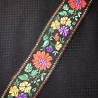 Vtg French Embroidered Jacquard Ribbon Multi Floral on Black 1.75