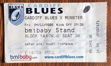 Wales Rugby Union WRU Used Ticket Stub Cardiff Blues Munster