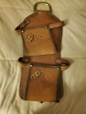 Leather Saddle Accessory Open End Pouches w Horse Head Etchings Large Brass Ri