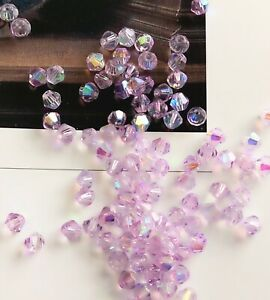 100 pcs 4 mm Light Violet Light AB Electroplated Bicone Crystal Glass Beads