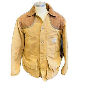 Vintage Men Sz Large Carhartt Duck Bird Bag Hunting Jacket Coat USA Wool Lined