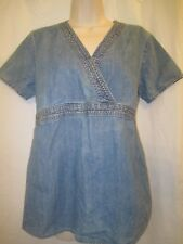 BABY AND ME MATERNITY SIZE MEDIUM BLOUSE JEANS MATERIAL PERFECT FOR FALL!  L@@K
