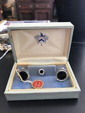Men's Vintage Black Onyx Cufflinks And Tie Tac In Original Box