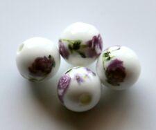 30pcs 10mm Round Porcelain/Ceramic Beads - White / Amethyst Roses