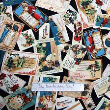 Christmas Emporium Fabric - Vintage Xmas Postcard Toss Black - Wilmington YARD