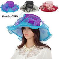 Women Chic Kentucky Derby Hats Summer Wide Brim Floral Wedding Dress Church Hat