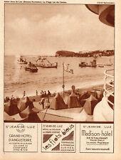 64 ST JEAN DE LUZ PLAGE HOTEL ANGLETERRE FLOTS BLEUS MADISON LALANDE PUB 1931