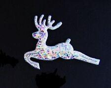 50 Silver Shimmer Reindeer Craft Applique/Christmas/trim/padded/bow H13-Hologram