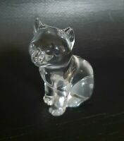 Vintage Clear Lead Crystal Glass Deco Cat  Ornament  Paperweight Heavy