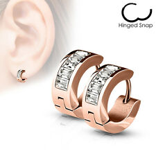Pair of Earrings Clips Hoop Stainless Steel Unisex Huggi Rose Gold