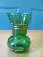 Small Vintage Dark Green Glass Vase with Gold Trim