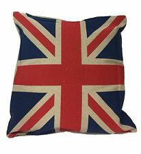 "QUALITY UNION JACK CUSHION COVER JUTE STYLE ZIP 16"" Inch UNITED KINDOM FLAG"