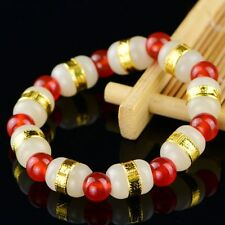 New 24k Yellow Gold Hetian Jade Bead With Red Agate Beads Link Bracelet 6.3inchL