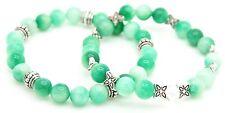 Handmade Semi Precious Stone Bracelet Set Emerald Beads Christmas Gift Bag 2 in1