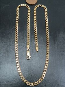 VINTAGE 9ct GOLD FLAT CURB LINK NECKLACE CHAIN 18 inch C.1990