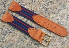 18mm -11/16 Watch Band NOS Strap Nylon w/TAN Pigskin Tabs Made in USA #464