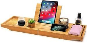 Extendable Bamboo Bath Caddy Adjustable Wooden Bath Tray Home Spa Bathtub Bridge