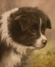 Border Collie Pup Portrait Original Painting by Award Winning Artist John Silver