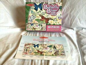 MELISSA & DOUG Jigsaw Puzzle BUTTERFLY BLISS 48 Jumbo Piece Floor 4' Long ~EUC~