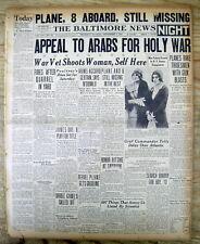 3 1929 hdl newspapers ARABS fight JIHAD WAR against British in PALESTINE MANDATE