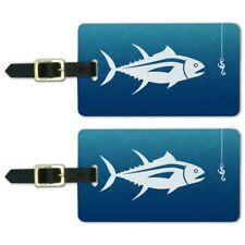 Tuna Fish Fishing Fisherman Luggage ID Tags Suitcase Carry-On Cards - Set of 2
