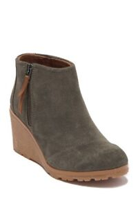 NIB Women's Toms Avery Tarmac Olive Suede Mix Wedge Bootie Boots 7
