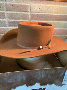 Resistol Cowboy Hat 7 3/8 Brown Long Oval Self Conforming Feathers Stylish