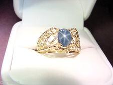 VERY NICE BLUE GENUINE STAR SAPPHIRE 1.14 CTS 14K GOLD FILIGREE RING