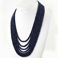 RARE 689.50 CTS NATURAL RICH BLUE SAPPHIRE 7 STRAND ROUND CUT BEADS NECKLACE