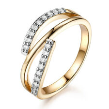 Elegant Slim Ribbon 18K White & Yellow Gold Filled Diamond Women Wedding Rings