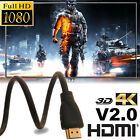 Newest 3D HDMI Cable 4K High Speed Premium Black 3/5/5.9/6.5/10FT 1080P