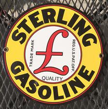 Vintage Sterling Gasoline Push Door Metal Porcelain Sign
