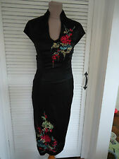 KAREN MILLEN RARE BLACK PURE SILK ORIENTAL EMBROIDERED DRESS SIZE UK10 NEW TAG