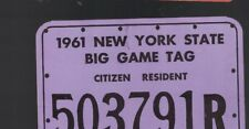 New York State Big Game Tag Citizen Resident 1961 Hunting