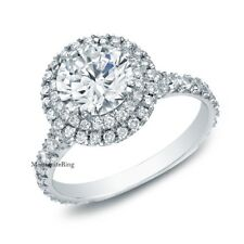 2 Carat Moissanite Double Halo Engagement Ring 925 Sterling Silver Size 4-12