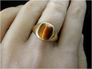 Man's Tiger Eye Signet Ring size V 9ct Gold London HM c1975 Beautiful Vintage